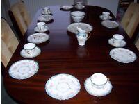 VINTAGE FINE BONE CHINA TEA SET, CREAMER, CUPS & SAUCERS, SIDE PLATES. BOWL, SANDWICH PLATE.