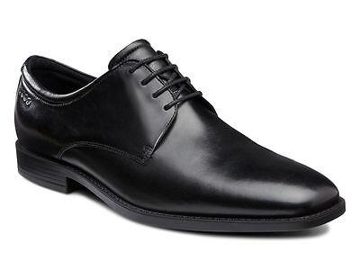 ECCO Men's 632504 Edinburgh Plain Toe Black Leather Tie Oxford Plain Black Tie