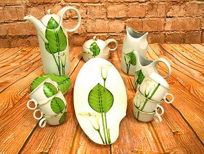 Porzellan Kaffeeservice Teeservice 17tlg. Korosten weiß-grün Blumendekor Calla