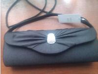 Ladies Black Evening Bag with Diamante detail