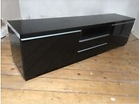 TV Cabinet black gloss great condition fits 65'' TV