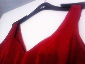 ORIGINAL ALMOST BRAND NEW TRULY FAB EVERGREEN SMART 100% RAW SILK DEEP RED DRESS