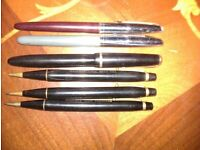 Collection of qty 6 fountain pens and pencils