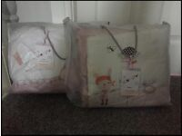 mamas and papas girl, cotbed nurserty set. Pink/White, curtains