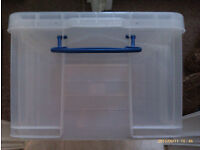 62 litre clear plastic filing storage box with lid for hanging files with central divider/partition