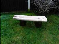 oak log garden bench