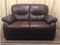 Brown Leather 2 Seater Sofa / Settee - Modern - FREE Delivery Available