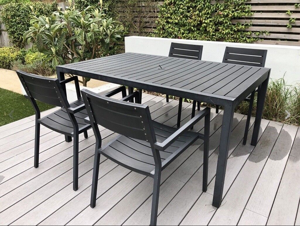 Composite graphite garden table and 4 chairs contemporary outdoor furniture