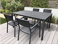 Composite Graphite Garden Table And 4 Chairs - Contemporary Outdoor Furniture