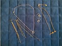 Lot of Silver and Golden Metal Chain Jewellery with Pendants