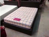 Brown leather bed frame with Classic Exceed Beadstead 1000 pocket spring mattress