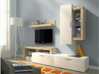 HARRY LIVING ROOM SET- NEW ARRIVAL! - £229 WITH LED LIGHTS- TV UNIT- MEDIA STORAGE - MODERN -BARGAIN