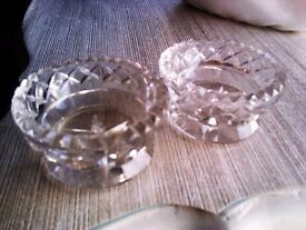 BRAND NEW REAL GOOD QUALITY SPARKLING CRYSTAL PAIR TEA LIGHTS &CANDLE HOLDERS
