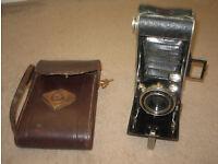 Vintage folding camera with leather case Agfa Jgestar Anastigmat F:8.8