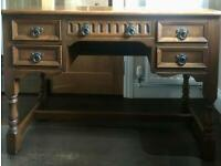 Old charm solid oak writing desk with 5 drawers