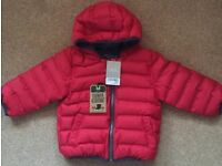 BNWT Next Red Hooded Padded Jacket 12 - 18 Months