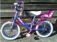 """Girl's bike, 14"""" wheels, suits age 4-6, stabilisers, reasonable condition, ballerina decoration"""
