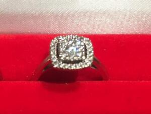 BRAND NEW IN BOX Natural Diamonds in 14K White Engagement Ring size 8 (Halo Style)