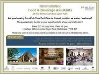 Food & Beverage Assistant / Waiter / Waitress - Hilton London Syon Park - Assessment Centre