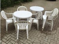 PLASTIC GARDEN FURNITURE - TABLE AND 4 STACKING CHAIRS