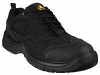 SAFETY WORK BOOTS / SAFETY TRAINERS Amblers FS214 Mens Black Steel Toe Cap Industrial Work Trainers