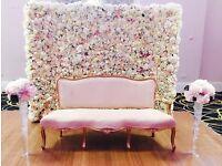 Flower wall, flower balls wedding table centrepiece candelabras bride event