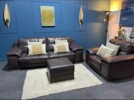 Violino brown leather suite. Solid 3 seater sofa with chair and footstool
