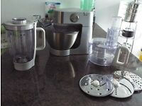 KENWOOD CHEF MIXER with liquidiser and food processor attachments. Very good condition