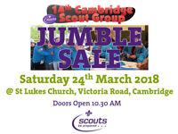 BIG Jumble Sale this Saturday at St Luke's, Victoria Road. Fundraising for 14th Cambridge Scouts