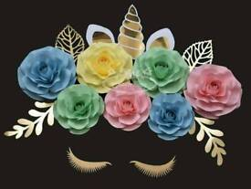 7pcs set of paper flower roses for nursery decor (unicorn set)