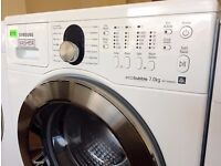 SAMSUNG - White + Chrome , 7.0KG , eco bubble, 1400 WASHER + 3 Month Guarantee + FREE LOCAL DELIVERY