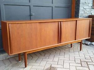 REFINISHED Swedish Mid-Century Modern Teak Sideboard Buffet TV Media Console
