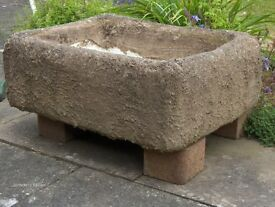 Rustic Stone/Concrete sink ready for planting, Herbs, Alpines, Bulbs Etc