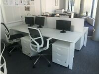 3 2-pod white sit-stand height adjustable desks/tables office desks