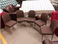 5 brown dining chairs