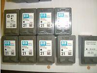 HP 21 Black Ink cartridges - empty/used