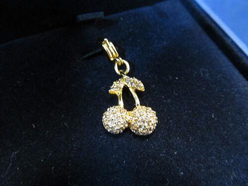 *NEW Swarovski Crystal Gold Tone Red Crystal Cherry Cherries Charm 3275371