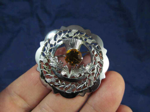 Vintage Mizpan Silver Tone Scottish Thistle Pin Brooch Amber Crystal