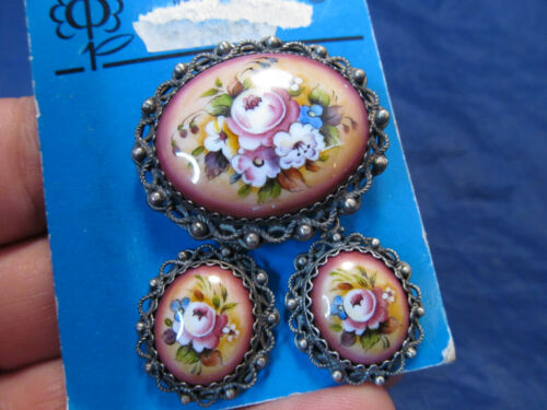 *NEW Russian Porcelain Hand Painted Floral Pin Brooch & Earrings Silver
