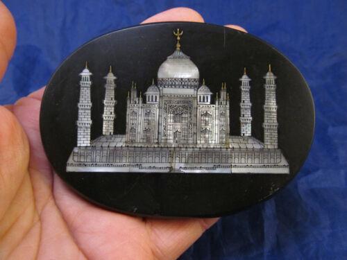 *Vintage Black Stone & Mother of Pearl Taj Mahal Paperweight