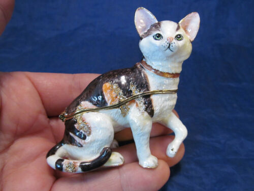 Gold Tone & Enamel Kitty Cat Figural Trinket Box with Crystals & Kitten Necklace
