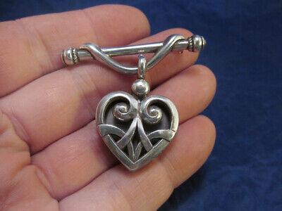 *Silver Tone Open Work Heart Locket Style Drop Pin Brooch  Open Heart Fashion Pin