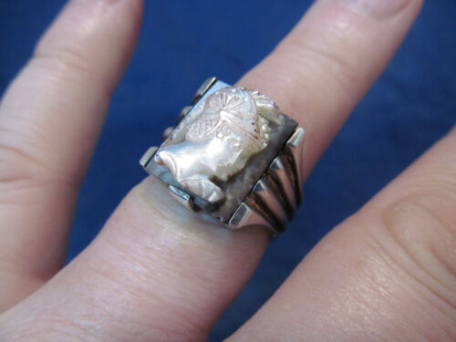 *Vintage Sterling Silver Art Deco Carved Shell Cameo of Warrior Ring Size 10