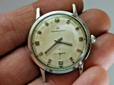Vintage Mens Hamilton Mechanical Wind Watch Stainless Running
