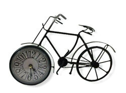 Wrought Iron Bicycle Desk Clock Black Battery Operated Table Top