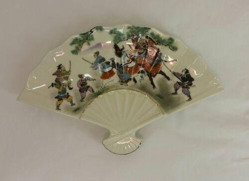 JAPANESE CERAMIC signed SHOGUN Decorative Fan shaped Dish Samurai Battle scene