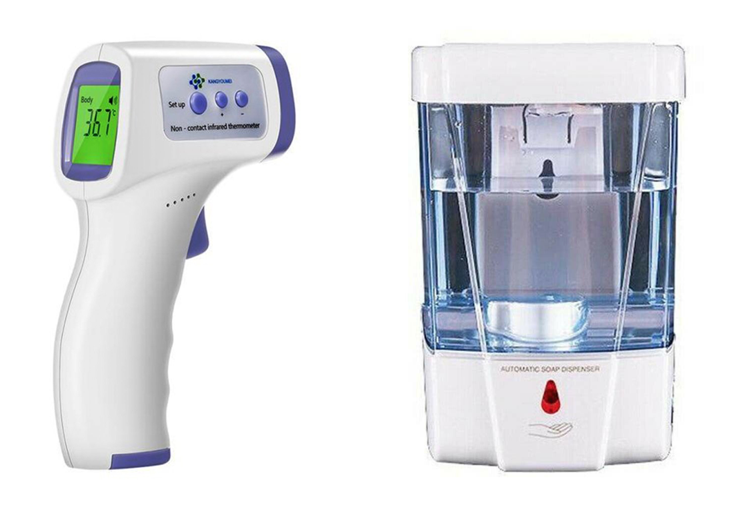 NON-CONTACT IR Infrared Digital Thermometer + Liquid Soap Sanitizer Dispenser