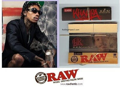 2 Packs Wiz Khalifa Limited Edition Raw King Size Rolling Papers Tips Poker