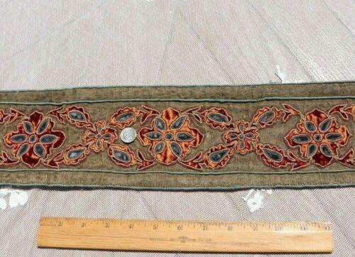 "Antique French 18thC Metallic & Silk Velvet Trim~Hand Embroidered~L-50"" X W-4.5"""