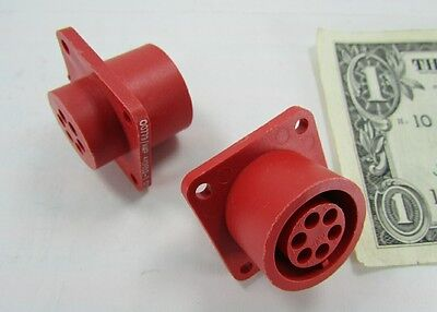 5 Tyco Amp Red 6 Position Lgh High Voltage Circular Connectors 449652-1 14s-6s